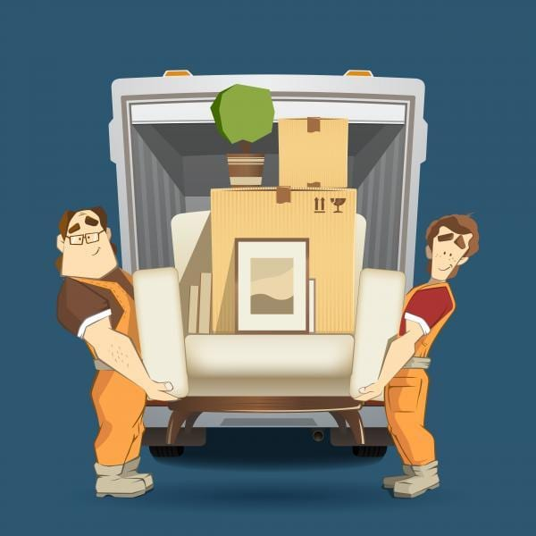 Calgary Moving Company two loaders holding armchair furniture